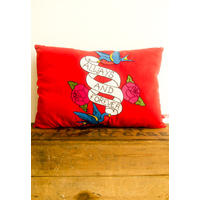 Handmade cushion with tattoo inspired embroidery.  Ink, ah! from Magpie Miller