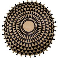 Niki Jones - Concentric Cushion - Slate on Natural Linen