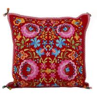 Pip Studio - Folklore Embroidered Cushion - Red - 45cm x 45cm