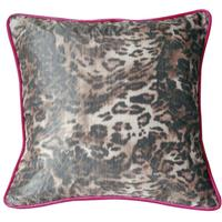 Sonia Rykiel Maison - Light Feline Cushion with Contrast Piping - Light Skin & Fuchsia