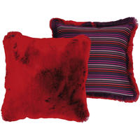 Sonia Rykiel Maison - Sensuelle Fur and Striped Cushion - Red