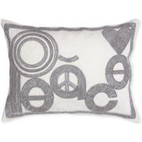 Jonathan Adler - Cream/Silver Beaded Cushion - Peace