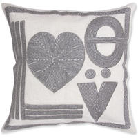 Jonathan Adler - Cream/Silver Beaded Cushion - Love