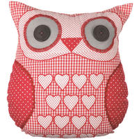 Patchwork Owl Cushion Red Gingham