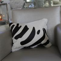 'Zebra' Cowhide Cushion - ZEB02