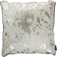 Amara - Cow Skin Cushion - White/Silver - 45x45cm