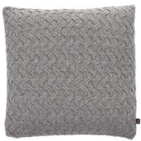 James Brindley - Lambswool Knitted Cushion - Light Grey - 45x45cm