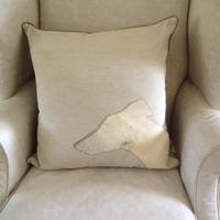 Greyhound Head with Cowhide Cushion - last one in stock 20% OFF