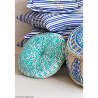 Souk Embroidered Cushion, Round, Turquoise