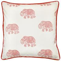 Hand Stamped Elephant Square Cushion