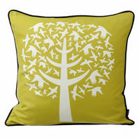 Yellow Bird Leaves Cushion