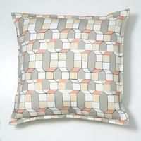 Cushion – geometric houses design in pink and grey