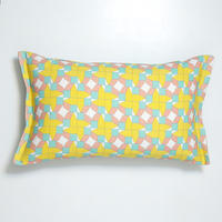 cushion – geometric houses design pink-blue-yellow