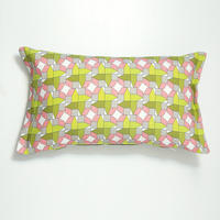 cushion – geometric houses design, pink-green-grey