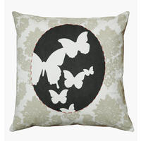 cushion in natural fabrics – Butterflies grey cameo