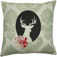 cushion on natural fabrics – green deer cameo