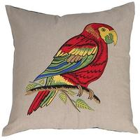 Pair of Red Parrots Cushion Covers