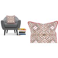 Talen Dot Cushion 45 x 45cm, Grey and Red