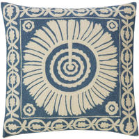 Cimkent Embroidered Wool Cushion Cover, Blue from OKA