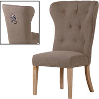 Reeves Beige Buttoned Lion Ring Back Dining Chair