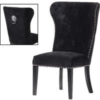 Reeves Black Velvet Buttoned Lion Ring Back Dining Chair