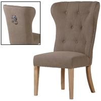 Beige button back dining chair