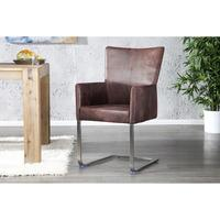 OLYMP LUX - design dining chair armchair antique brown faux leather kitchen chair