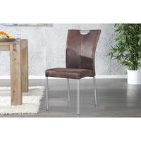 OLYMPUS - design dining chair antique brown faux leather kitchen chair