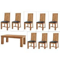 Acacia Dining Table - Large with 8 Chairs
