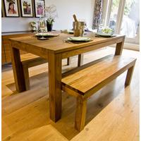 The 'Karang' Reclaimed Teak Wood Dining Table and Bench Set