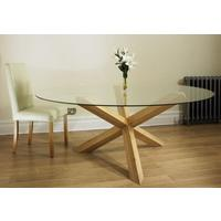 """Havana Oak 4'6"""""""" Glass Round Table on a Solid Oak Pedestal"" from Oak & Ash Furniture"