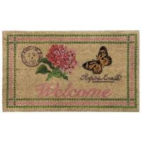Welcome Botanical Butterfly Design Non-Slip Door Mat