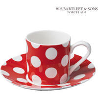 Red Dotty Espresso Cup and Saucer