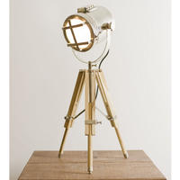 Tripod Lamp in Wood and Nickel
