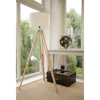 Beech and Brass Tripod Lamp and Shade