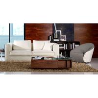 Carlton Three Seat White Fabric Black Piping Sofa