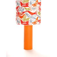 ORANGE CYLINDER LAMP WITH BIRDS from The Wooden Lamp Company