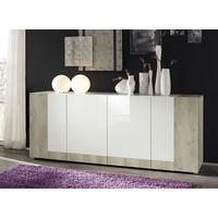 Mars Sideboard in Gloss White and White Pine Finish