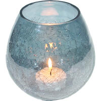 Silver Blue Glass Tealight Holder