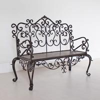 Black Wrought Iron Decorative Garden Bench