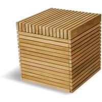 Dallas Slatted Wood Dining Cube Stool