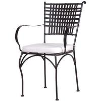 Black Lattice Garden Chair With Cushion