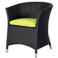 Black Woven Garden Chair With Lime Green Cushion