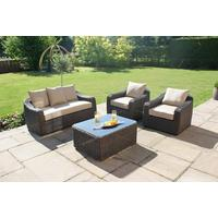 Wide Weave Rattan Round Back Sofa Set