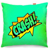Comic Crash Green Sofa Cushion