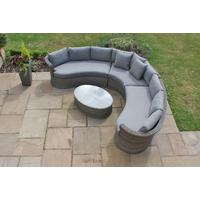 Combination Weave Rattan Curved Corner Sofa Set