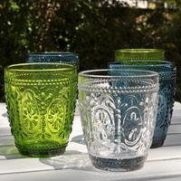 Coloured Pressed Glass Tumblers