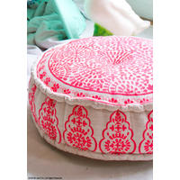 Nomad Embroidered Linen Pouffe, Coral