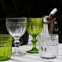 Green/Clear Glass Tumblers & Goblets