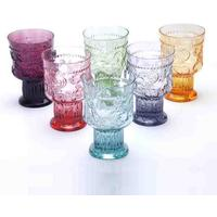 6 x Handmade Coloured Portuguese Water Glasses Multicoloured
